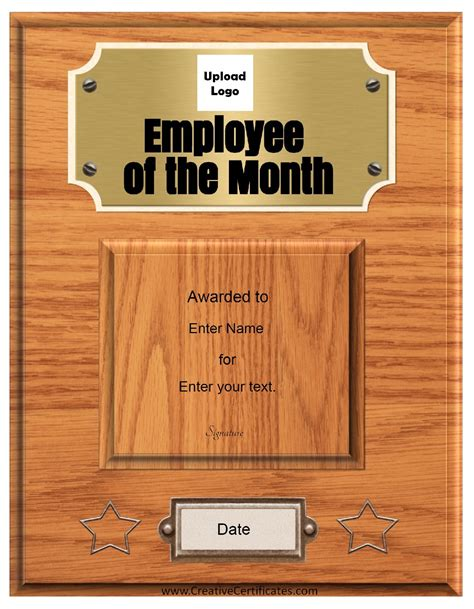 employee of month template free custom employee of the month certificate