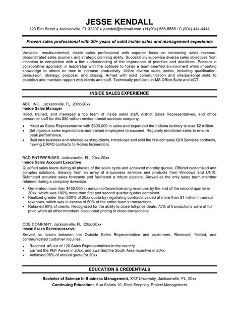 Resume Sles For Inside Sales Representatives Sales Resume Exles Best Template Collection