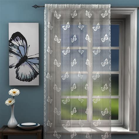 butterfly lace curtains butterfly voile lace curtain panel net black white gray