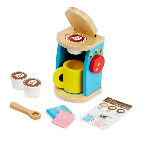 melissa doug 11 piece brew and serve wooden coffee maker