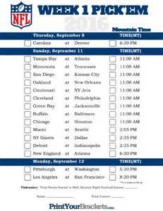 Office Pool Manager Football Pool Em Survivor Mountain Time Week 1 Nfl Schedule 2016 Printable