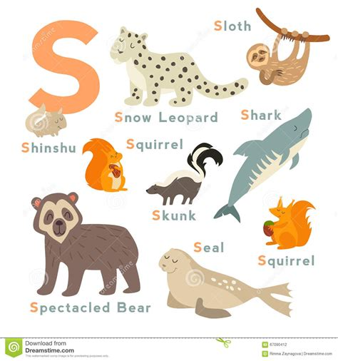 imagenes en ingles con la letra s animales de la letra de s fijados alfabeto ingl 233 s