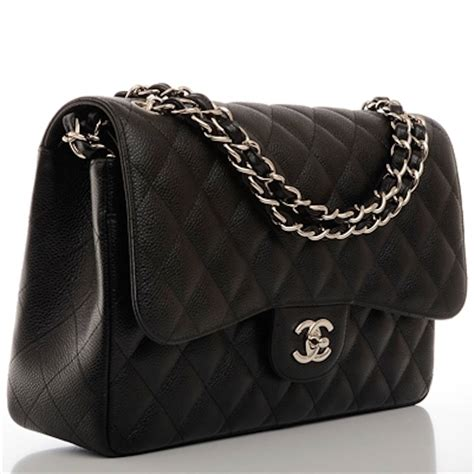 chanel black quilted caviar jumbo classic flap bag