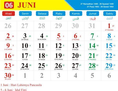 kalender bulan juni   hari pasaran jawa kalender   indonesia