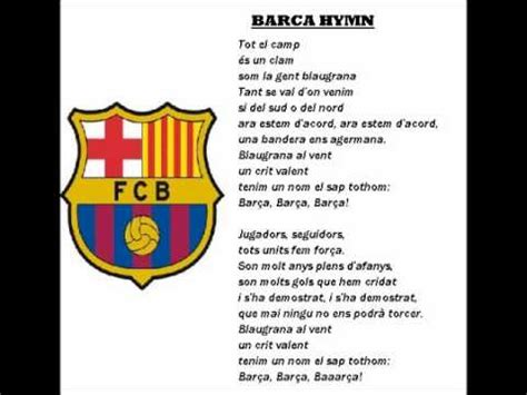 Barcelona Anthem Lyrics | barcelona barca hymn with lyrics youtube