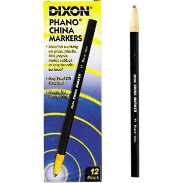 Dixon Phano China Marker dixon 00077 phano nontoxic china markers black lead black barrel dix00077 china markers free
