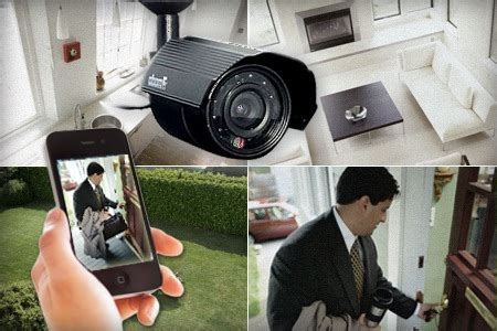 home security system with four surveillance cameras