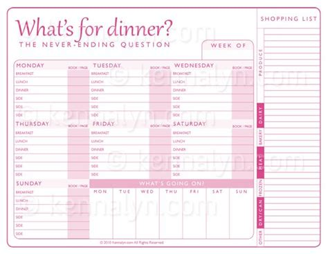 Weekly Meal Plan Printable Cooking 101 Pinterest Weekly Meal Plans Meals And Shopping Dinner Shopping List Template