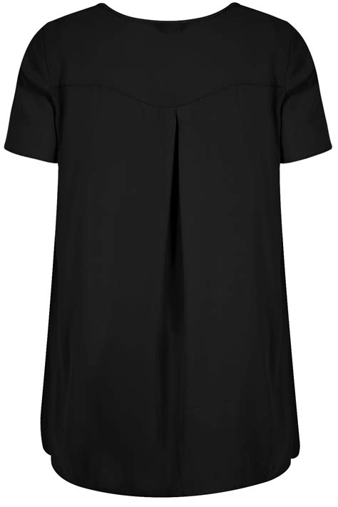 V Neck Chiffon Top black v neck chiffon top with pleat back and dipped hem