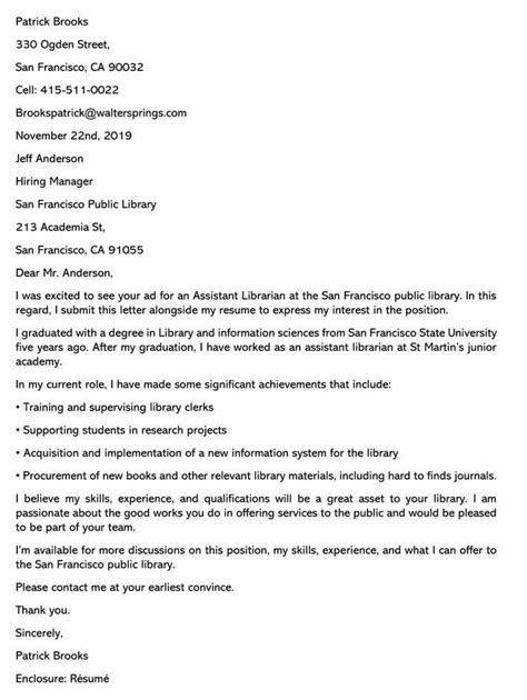 librarian cover letter samples email examples