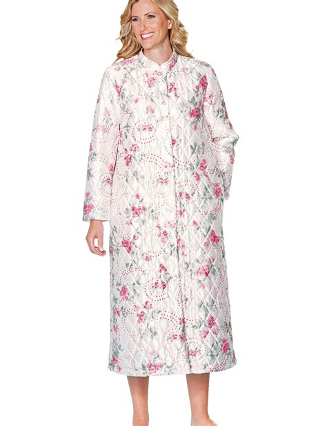 Quilted Dressing Gowns mandarin collar quilted housecoat bathrobe dressing gown ebay