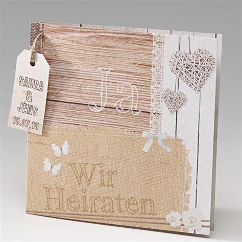 Hochzeitseinladung Holzoptik by Hochzeitseinladungskarte Quot Molly Quot In Leinen Und Holzoptik