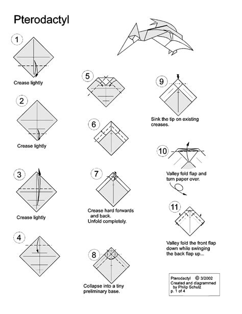 Pterodactyl Origami - pterodactyl and other cool origamis crafty stuff