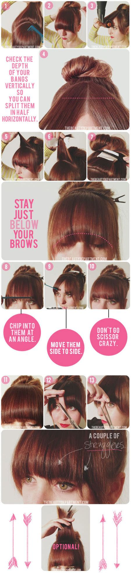 pictures how to make bangs how to cut your own bangs hair bellashoot