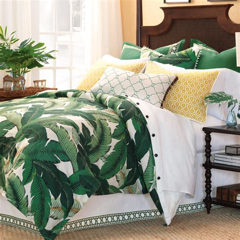white comforter with green leaves luxury bedding by eastern accents lanai collection