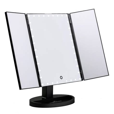 black touch control lighted makeup mirror impressions vanity co touch trifold xl dimmable led