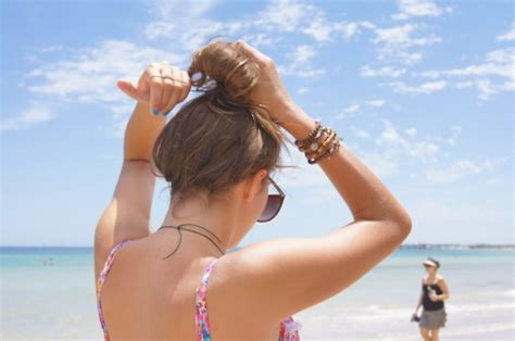 pretty pubis beach bikini bun colourful hair image 140932 on