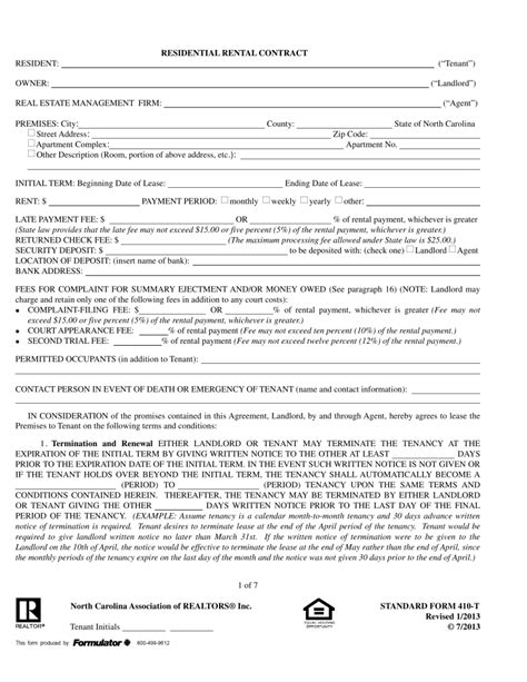 free printable lease agreement north carolina north carolina realtors residential lease agreement form