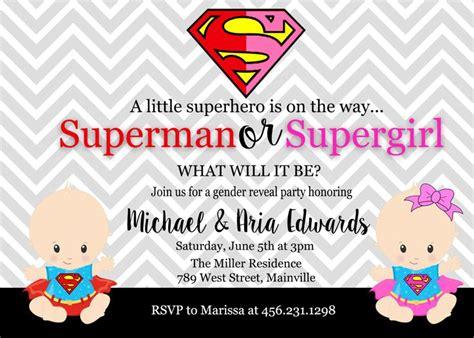 Superman Baby Shower Invitations by Superman Supergirl Baby Shower Gender Reveal