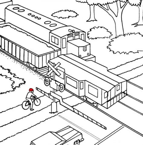 Train Crossing Coloring Page | train coloring pages railway crossing diesel train