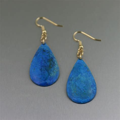 Handmade Copper Jewelry - blue patinated copper tear drop earrings from s brana