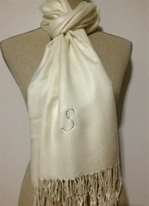 Pashmina Woll Kotak Bb rhinestone initial ivory pashmina wedding shawls