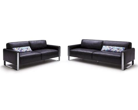 Modern Black Full Leather Sofa Set 44l5921 Black Sofa Leather