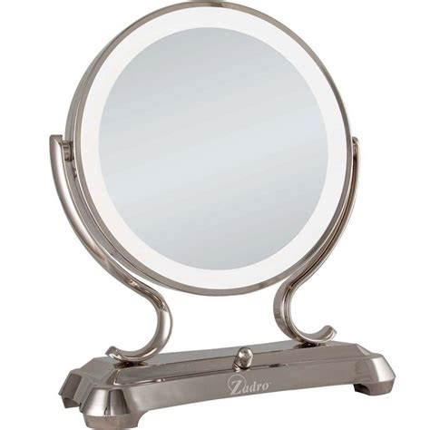 Polished Nickel Vanity Mirror by Zadro 16 In L X 12 75 In W Surround Light Vanity Mirror In Polished Nickel Gla75 The Home Depot
