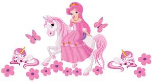 Disney Princess Wall Sticker princess on a horse with unicorns wall sticker totally