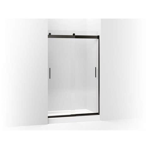Kohler Levity Sliding Shower Door Kohler Levity 47 625 In W X 74 In H Frameless Sliding Shower Door In Anodized Bronze K
