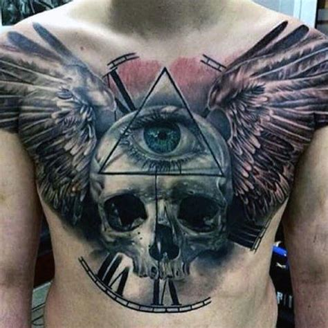 tattoo eye with wings 50 skull chest tattoo designs for men haunting ink ideas