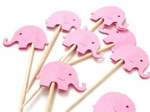 24 decorative pink elephant party picks toothpicks food