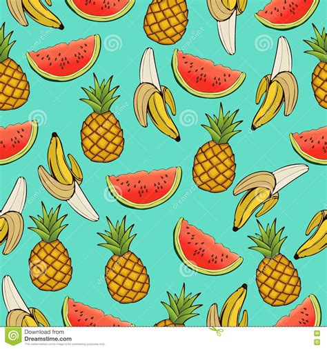 wallpaper cartoon fruit banana pineapple and watermelon slices seamless pattern