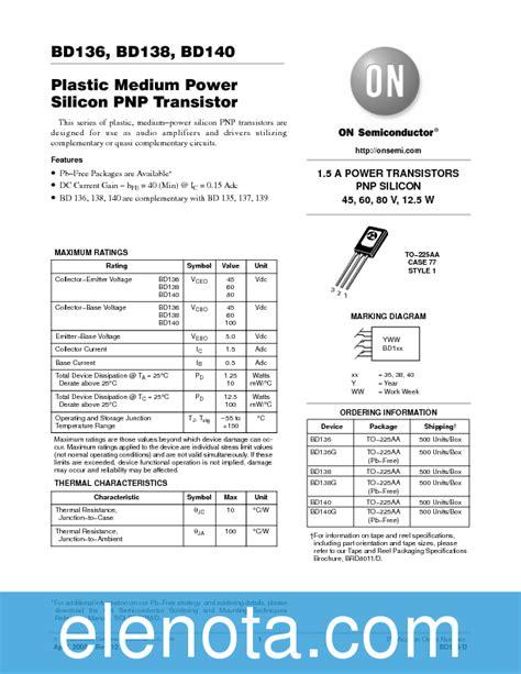 datasheet transistor bd140 bd136 datasheet pdf 38 kb on semiconductor pobierz z elenota pl