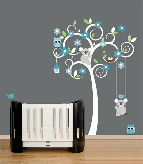 Nursery Wall Decals White Swirl Tree Decal Turquoise White Wall Decals For Nursery