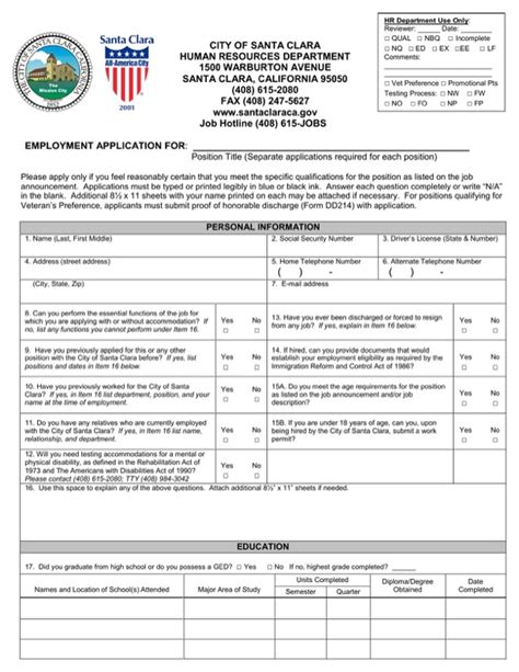 Santa Clara Mba Placement by City Of Santa Clara Employment Application For