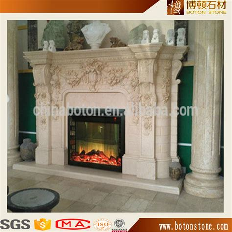 carved cheap indoor marble fireplace mantel