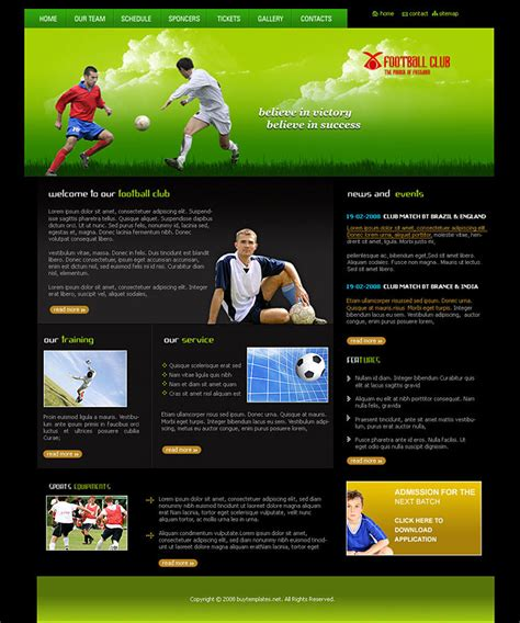 templates for professional website football clubs professional web design templates