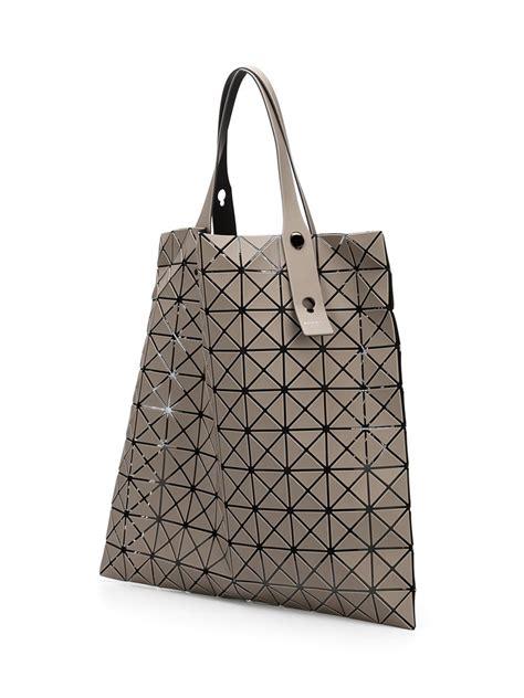 geometric pattern tote bag bao bao issey miyake geometric pattern tote bag in gray