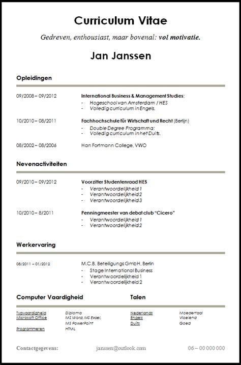 Cv Template Nederlands Voorbeeld Cv Voor Starters En Studenten Dit Cv Is Gratis Te Downloaden Op Www
