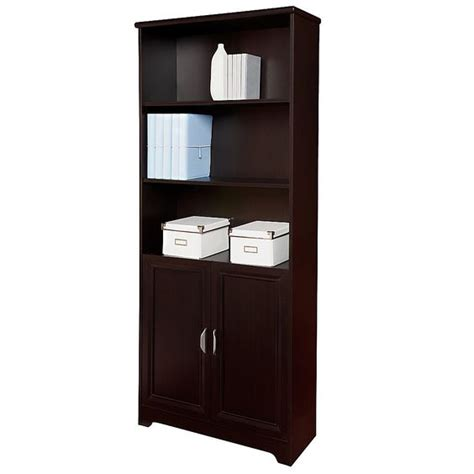 Espresso Bookcase With Doors Espresso Bookcases And 5 Shelf Bookcase On Pinterest