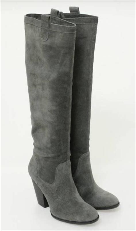 vince camuto grey suede knee high heel boots size 8 new ebay