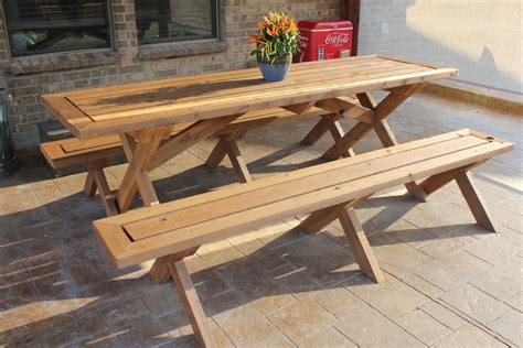 picnic table benches diy 8 ft picnic table with benches plans plans free
