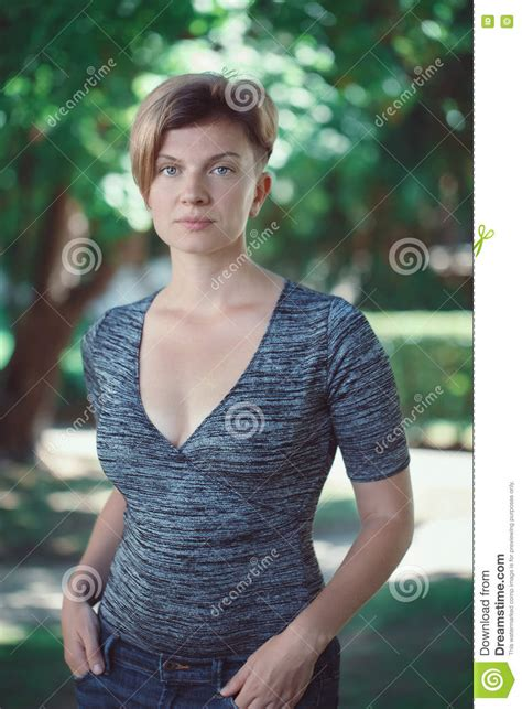 middle age hair cut in dreams young girl with a camera royalty free stock image