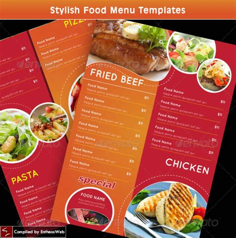 food menu card templates stylish food menu templates entheos