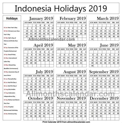 indonesia holiday list