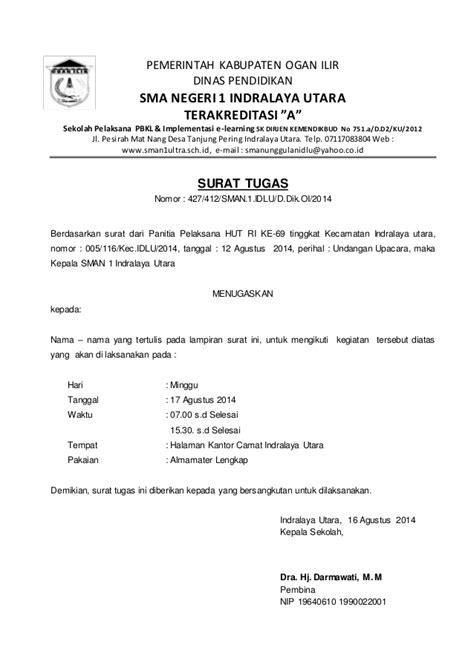 Contoh Surat Dinas Penugasan by Surat Tugas Siswa