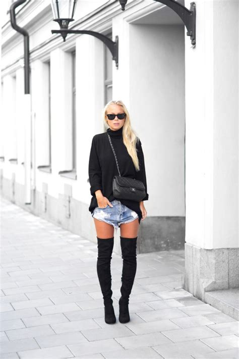 Summer Denim The Knee Boots Sepatu Boots Flat Shoes how to wear the knee boots in fall just the design