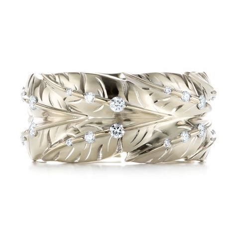 Custom Unplated Feather Design Diamond Men's Band #103393