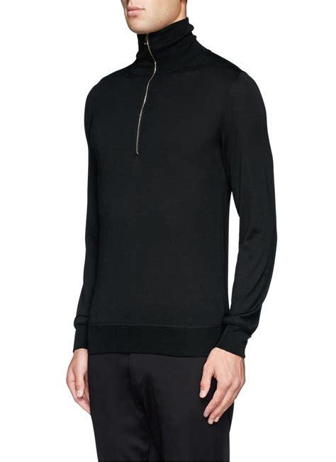 Turtle Neck Two Zipper lyst mcqueen zip front turtleneck sweater in